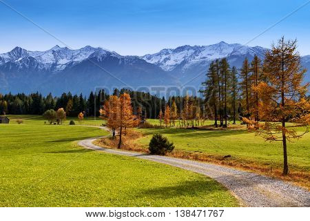 Autumn scenery of Miemenger Plateau with snow covered mountains in the background. Austria Europe Tyrol.