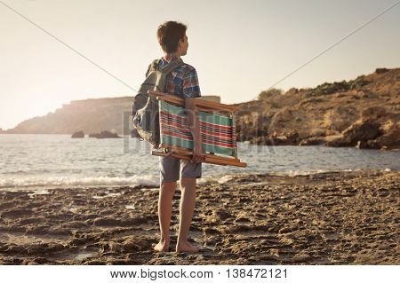 Boy heading to the beach