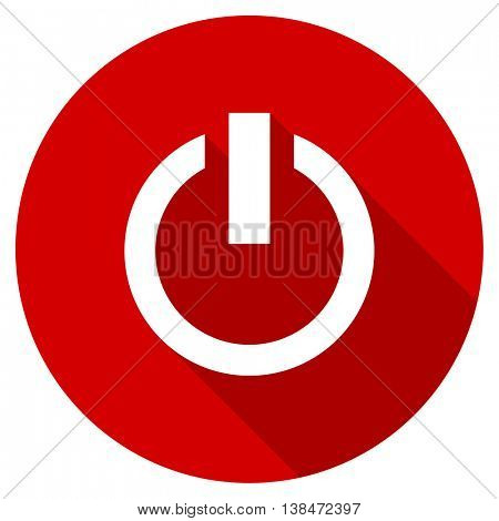 power vector icon, red modern flat design web element