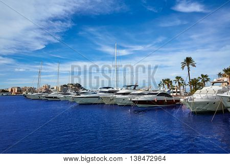 Denia port Marina in Mediterranean sea of Alicante Spain
