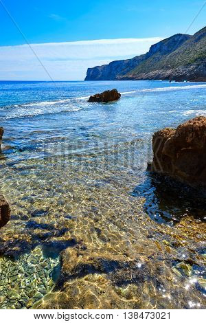 Denia Las rotas beach near Sant Antonio cape of alicante spain