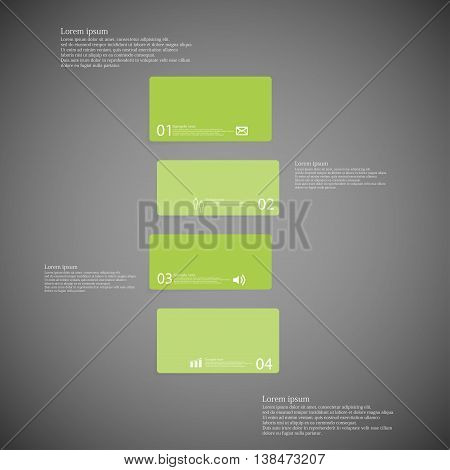 Illustration infographic template with shape of bar. Object horizontally divided to four shifted parts with green color. Each part contains Lorem Ipsum text number and sign. Background is dark.