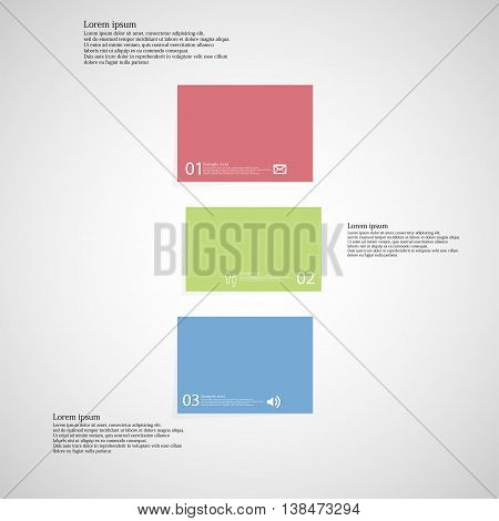 Illustration infographic template with shape of bar. Object horizontally divided to three shifted parts with various color. Each part contains Lorem Ipsum text number and sign. Background is light.