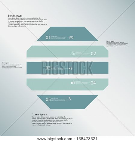Illustration infographic template with shape of octagon. Object horizontally divided to five parts with various color. Each part contains Lorem Ipsum text number and sign. Background is blue.