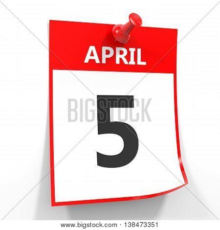 5 April Calendar Sheet With Red Pin.