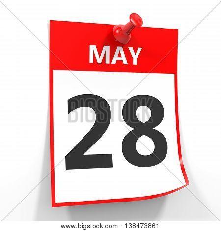 28 May Calendar Sheet With Red Pin.