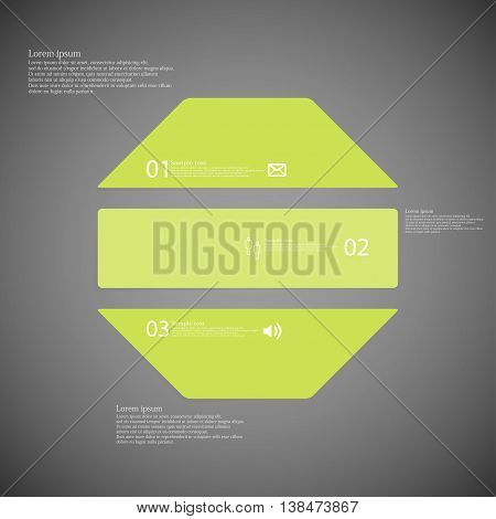 Illustration infographic template with shape of octagon. Object horizontally divided to three parts with green color. Each part contains Lorem Ipsum text number and sign. Background is dark.