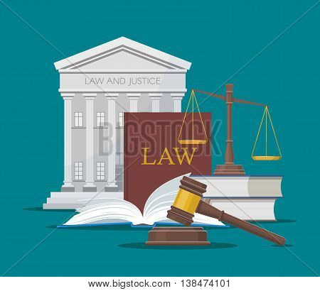 Law and justice concept vector illustration in flat style. Design elements, symbols and icons.