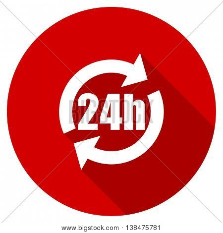 24h vector icon, red modern flat design web element