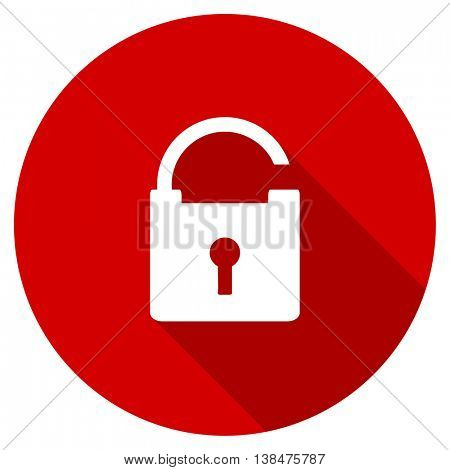 padlock vector icon, red modern flat design web element