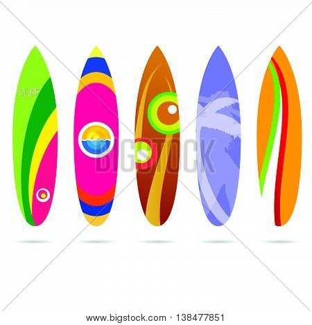 Surf Board Set Illustration In Colorful On White
