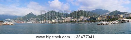 SALERNO ITALY - JUNE 28: Waterfront Cityscape in Salerno on JUNE 28 2014. Panorama of Port and Coast in Salerno Italy.