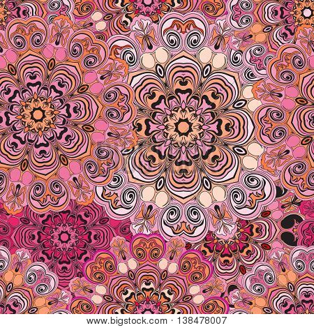 Seamless pattern in oriental style, wrapping-paper with deep pink mandalas design. Floral cover or ethnic style serviette. Indian or chinese concept.