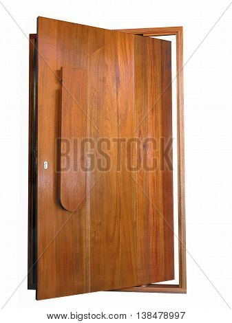 Varnished, Wooden Front Door Made From Maranti 01