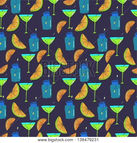 Vector colorful seamless pattern with alcoholic cocktails sketch. Abstract hand drawn drinks background for bar or restaurant menu.