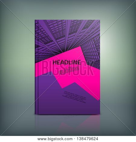 Vector business brochure cover template. Modern backgrounds for poster, print, flyer, book, booklet, brochure and leaflet design. Editable graphic collection in violet, magenta and black colors
