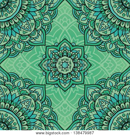 Seamless green ornamental background. Template for carpet shawl textile cloth. Stylized turquoise mosaic. Filigree oriental pattern of mandalas.