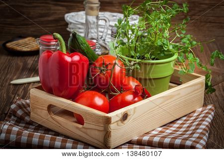 Vegetables In A Wooden Box.