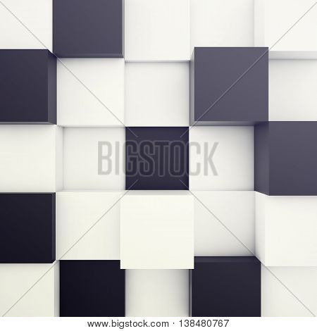 Cubical white and black background. 3d illustration