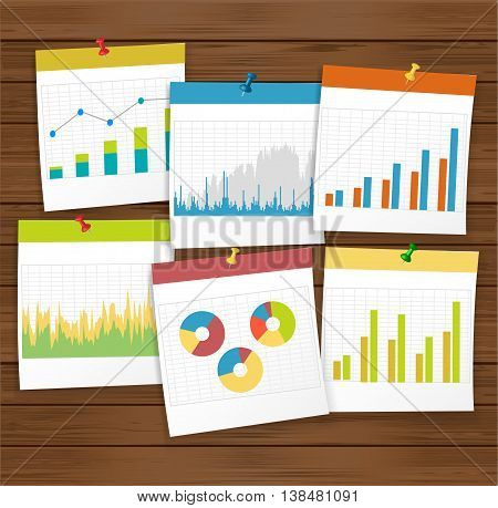 finance business graph with pushpin on wooden board. Vector illustration.