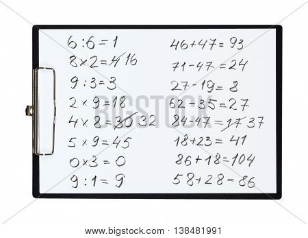 Clipboard and paper sheet with pencil drawing math task, isolated object