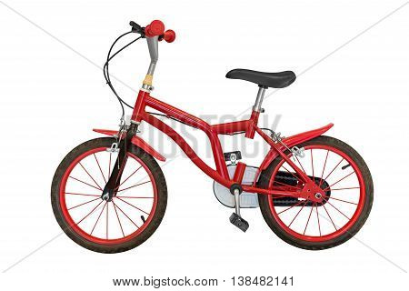 image of red children's bicycle isolated on white background