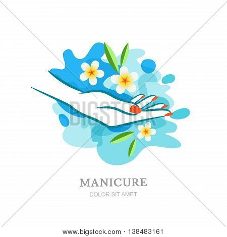 Womens Hand And Tropical Flowers In Clean Water. Vector Logo, La