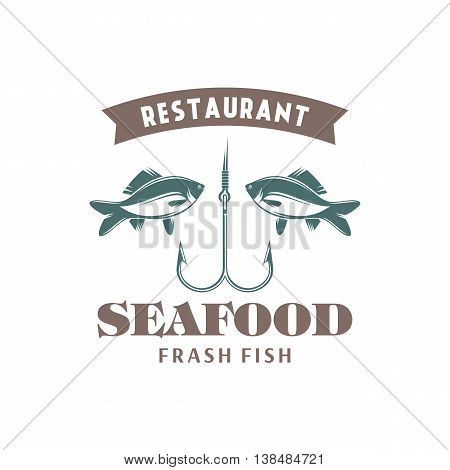 vector illustration emblem seafood restaurant on a white background with a picture of an fish and hook