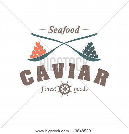 vector emblem fish caviar in spoon isolated on white background