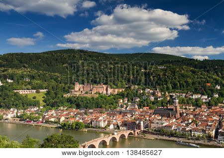 Panorama of Heidelberg with the ruin of the red castle Germany
