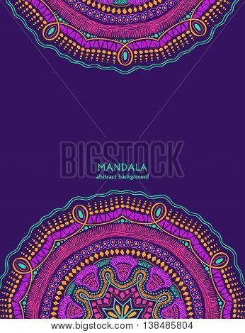 Invitation or card with colorful mandala design. Hand drawn vibrant colorful circle mandala design. Ethnic ornament background.