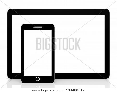 Tablet Computer And Smart Phone.