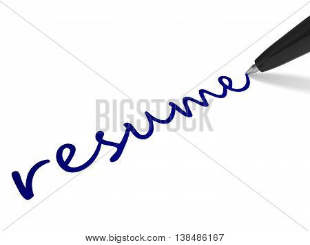 Text Resume And Pen.