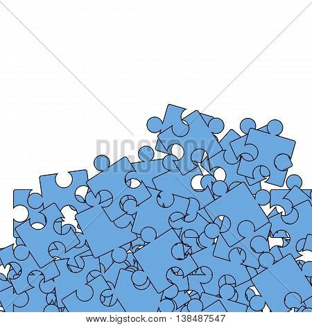 Set of Blue Puzzle on White Background.  Jigsaw Pattern
