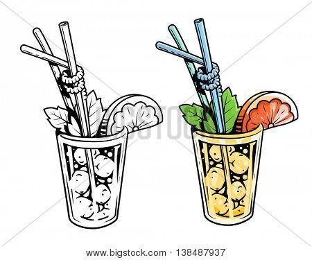 Cocktail lemonade with mint and grapefruit vector illustration freshness beverage lemons fresh