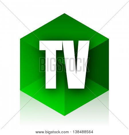 tv cube icon, green modern design web element