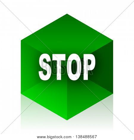 stop cube icon, green modern design web element