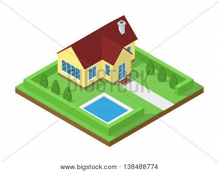 picture of isometric cottage house for real estate banners bro