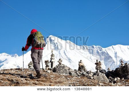 Climber in Himalayan mountain