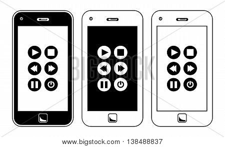 Smart Phone Music Player Buttons. Simple Black And White Vector Illustration Of A Smart Phone Music Player Buttons