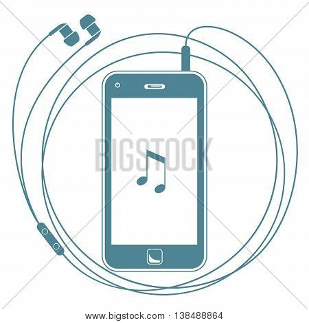 Smart Phone With Earphones. Vector Illustration Of A Smart Phone With Earphones Playing Music