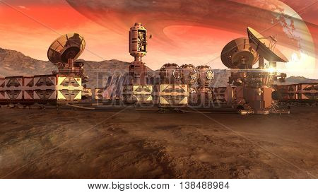 Scientific settlement and colony on an arid planet