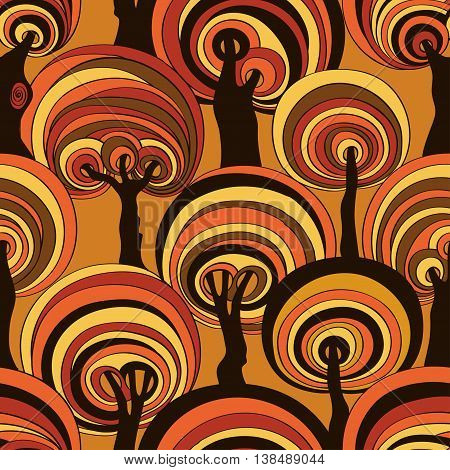 Orange brown seamless pattern of psychedelic crazy trees. Funny colorful autumn forest background.