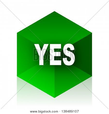 yes cube icon, green modern design web element
