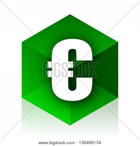euro cube icon, green modern design web element