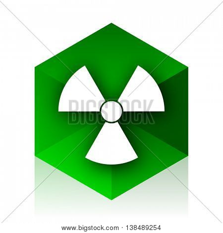 radiation cube icon, green modern design web element