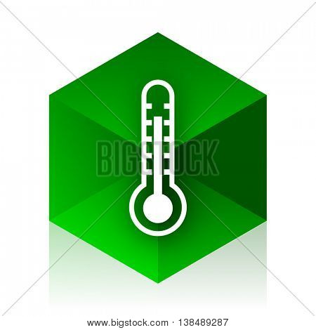 thermometer cube icon, green modern design web element