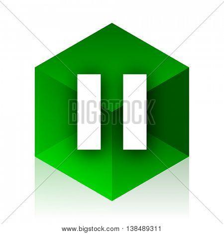 pause cube icon, green modern design web element