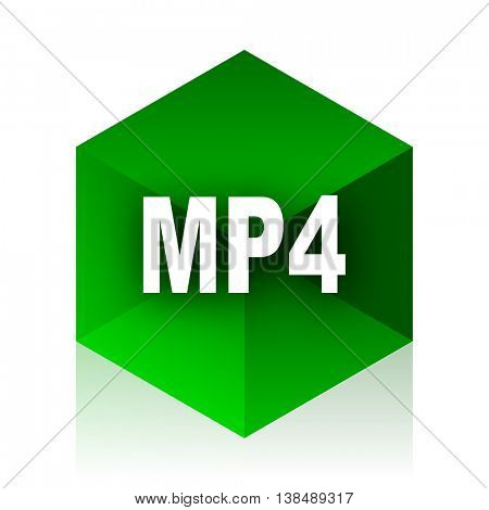 mp4 cube icon, green modern design web element