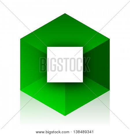 stop cube icon, green modern design web element